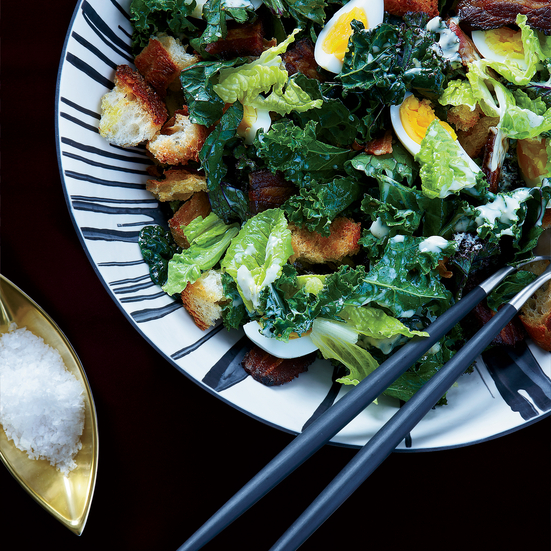 Kale Caesar with Bacon and Eggs