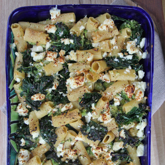 baked penne and with kale and goat cheese crispy ricotta and mint ...
