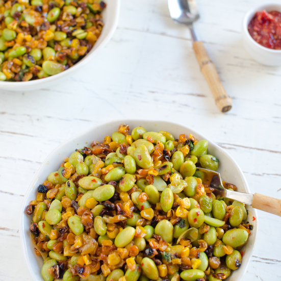 Roasted Corn and Edamame Stir-fry with Chili Cilantro Lime Sauce