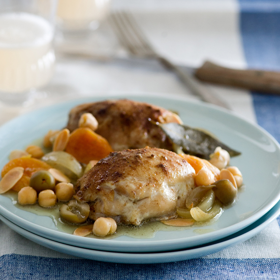 Slow Cooker Moroccan Chicken with Apricots, Olives and Almonds