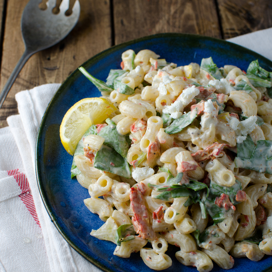 Smoked Salmon Macaroni Salad with Spinach, Lemon and Goat Cheese ...