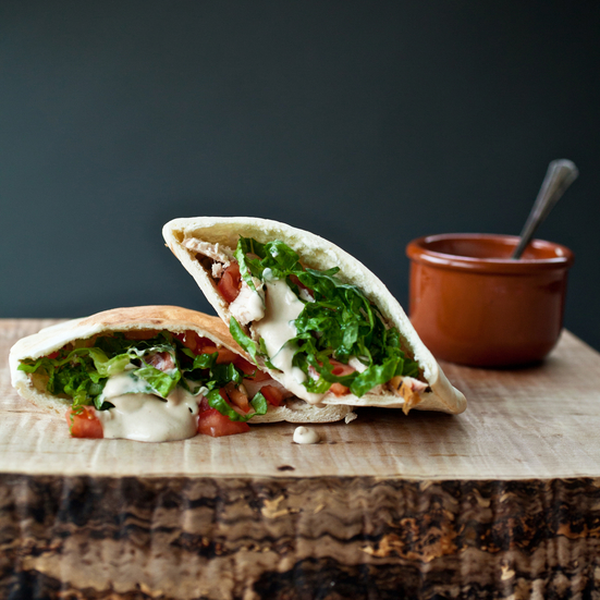 Spicy Pita Pockets with Chicken, Lentils, and Tahini Sauce