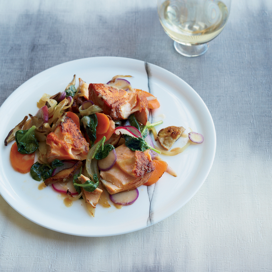Smoky Salmon with Miso-Dressed Vegetables
