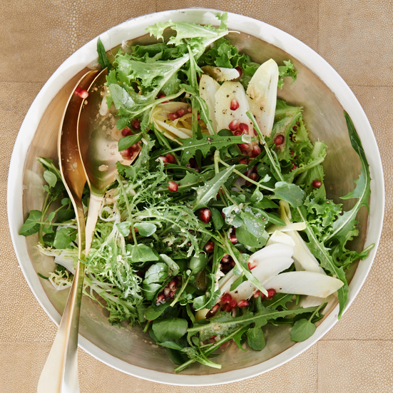 Winter Lettuces with Pomegranate Seeds