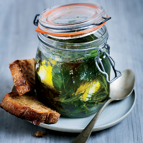 Herb-Marinated Goat Cheese in a Jar