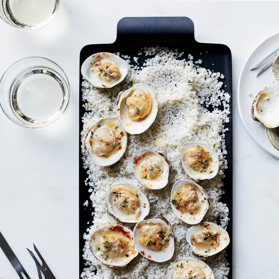 Clams Broiled with Lemon, Thyme and Parmesan
