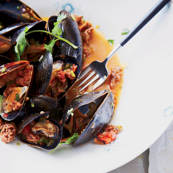 Mussels with Merguez Sausage