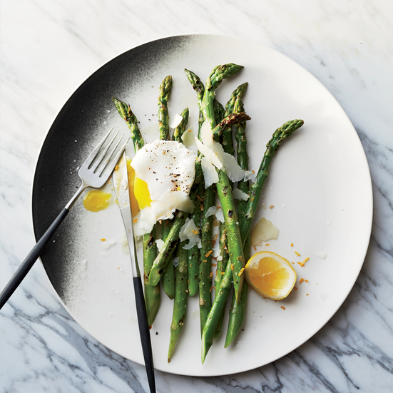 Grilled Asparagus with Pecorino and Meyer Lemon-Poached Eggs
