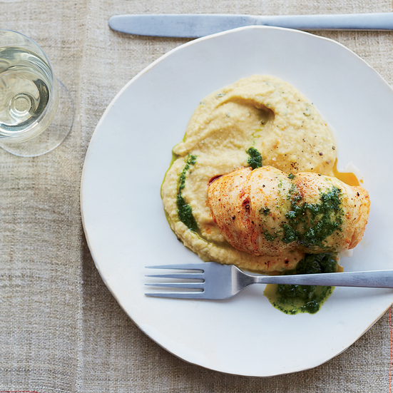 Roast Sea Bass with Chickpea Puree and Parsley Sauce