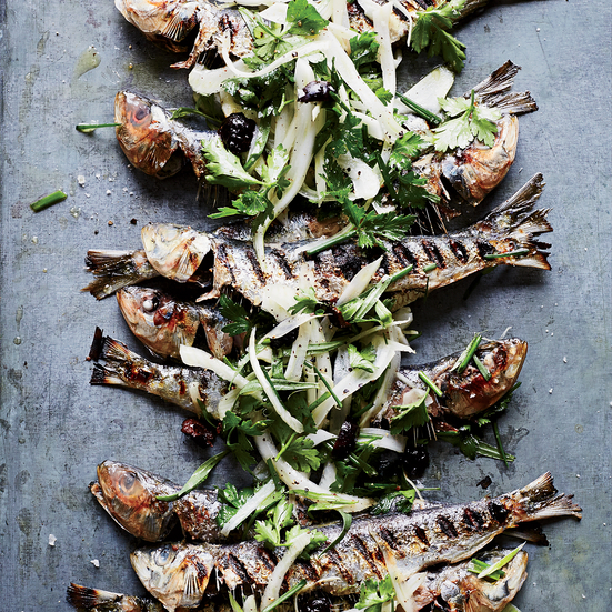 Grilled Sardines with Herbed Fennel-and-Olive Salad