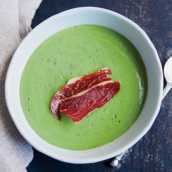 Chilled English Pea Soup with Prosciutto Crisps