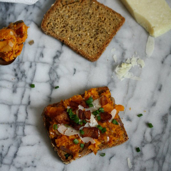 Butternut Squash Tartines with Pancetta and Pecorino Recipe - Phoebe ...