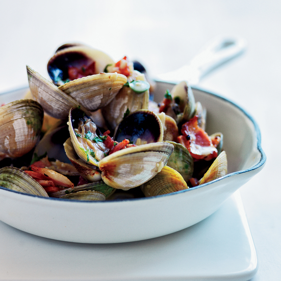 Clams with Bacon and Bourbon