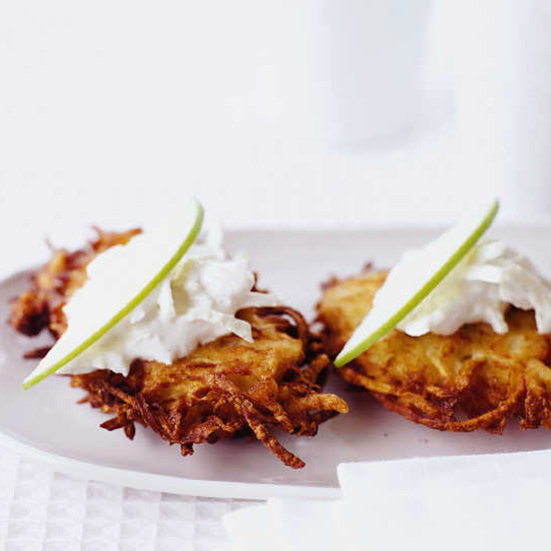 Celery Root-Potato Pancakes with Green Apple Sour Cream Recipe - Bill ...