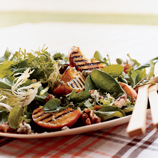Salad of Mixed Greens with Grilled Peaches and Cabrales Cheese