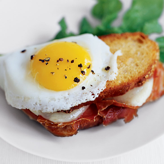 Grilled Ham and Cheese Sandwiches with Fried Eggs