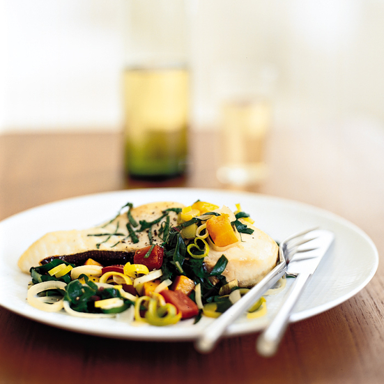 Halibut with Swiss Chard, Leek and Pepper Stew