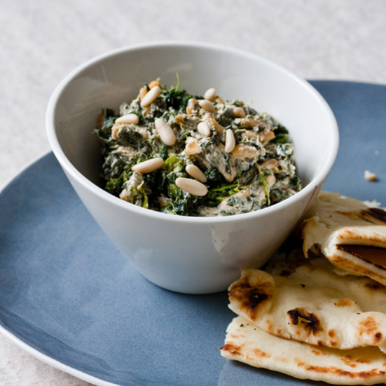Spicy Spinach Dip with Pine Nuts