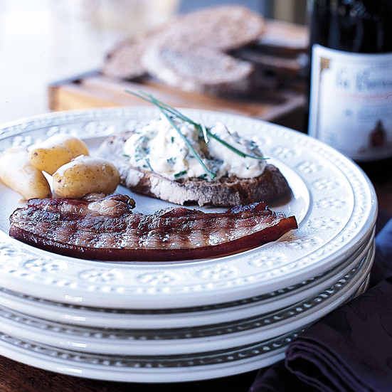 Herbed Goat Cheese with Potatoes and Grilled Bacon