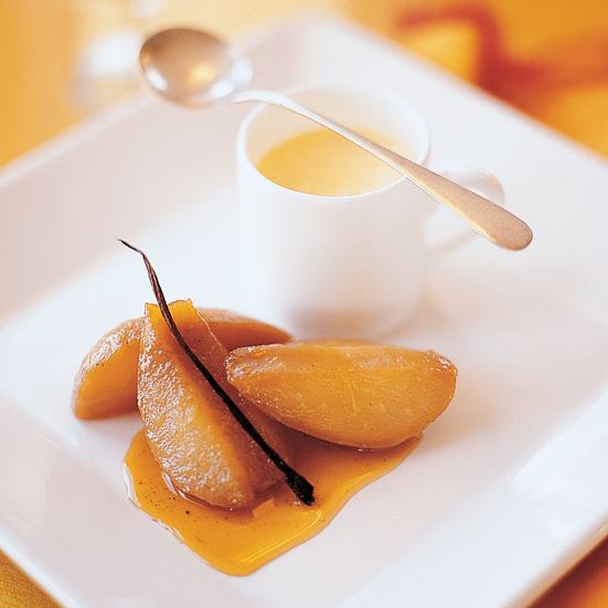 Honey-Caramelized Pears with Orange-Vanilla Flan Recipe - Julian ...