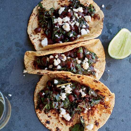 Kale, Black Bean and Red Chile Tacos with Queso Fresco