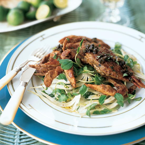 Oatmeal-Crusted Soft-Shell Crabs with Brown Butter