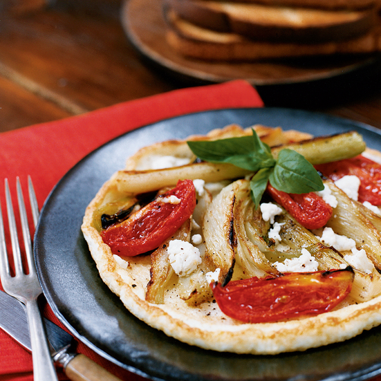 Open-Face Egg-White Omelets with Roasted Vegetables