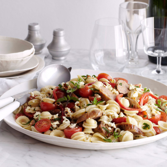 Orecchiette with Broiled Feta, Peppers and Sausage