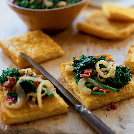 Polenta Squares with Sautéed Broccoli Rabe and Pancetta