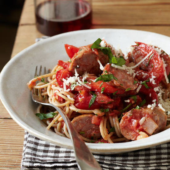 Whole-Wheat Spaghetti with Sausage and Peppers