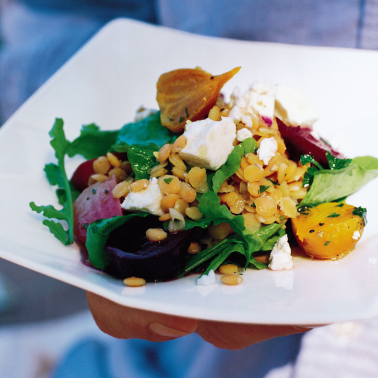 Red Lentil Salad with Feta and Beets