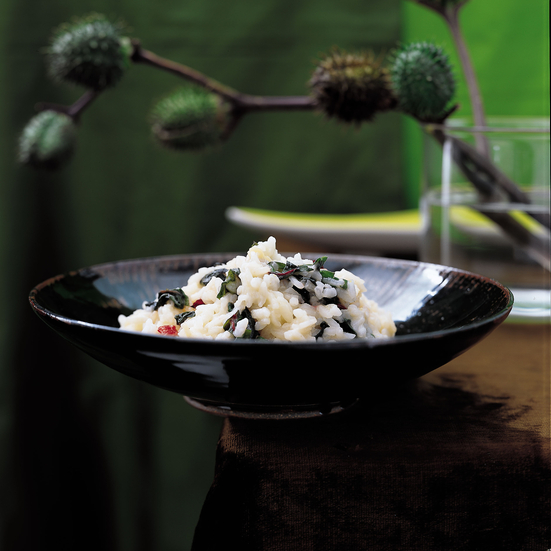 Risotto with Bitter Greens and Goat Gouda Cheese