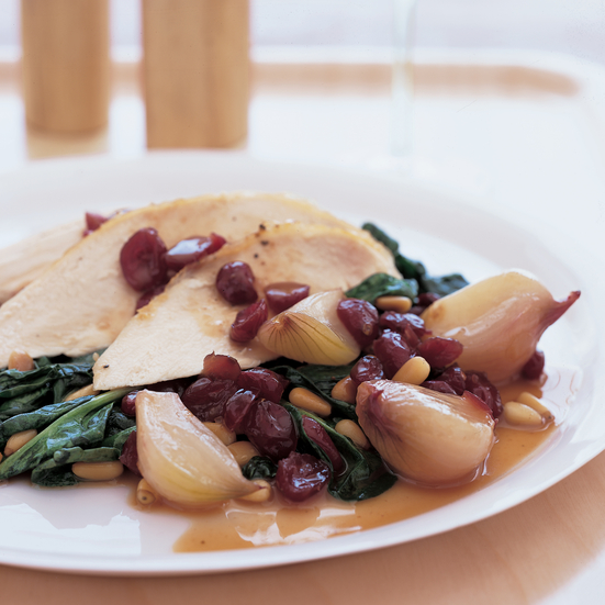 Roast Chicken with Shallots and Dried Cranberries