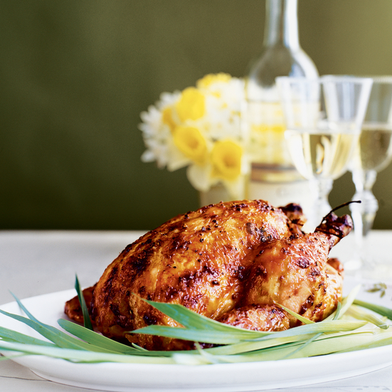 Roast Chickens with Black Pepper–Maple Glaze