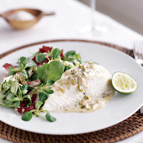Roasted Halibut with Green Olive Sauce