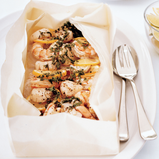 Roasted Shrimp and Scallop Papillotes with Miami Tartar Sauce