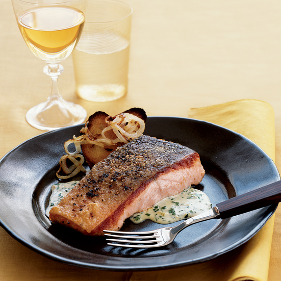 Salmon with Scotch Bonnet–Herb Sauce and Onion Toasts