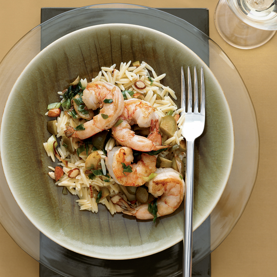 Sautéed Shrimp with Green Olives, Scallions and Anchovies