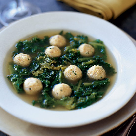 Soup of Bitter Greens with Cheese Dumplings