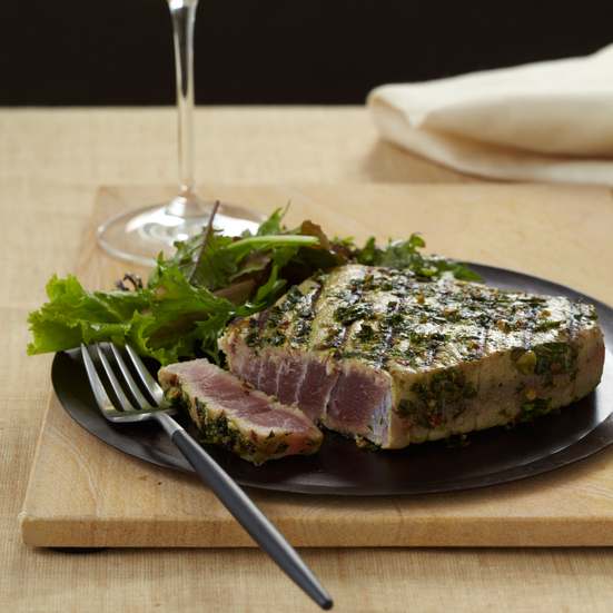 Spice-Crusted Tuna Steaks with Cilantro and Basil
