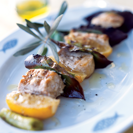 Swordfish Kebabs with Lemon and Bay Leaves