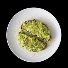 Food & Wine: Bruschetta with Avocado, Peas, Mint & Cured Egg Yolk
