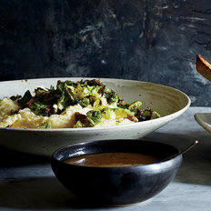 Food & Wine: Parsnip Mash with Fried  Brussels Sprout Leaves