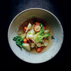 Food & Wine: Bok Choy, Shiitakes, and Root Vegetables in Dashi