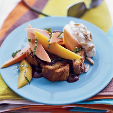 Food & Wine: Grilled Pound Cake with Mexican Chocolate Sauce and Tropical Fruit