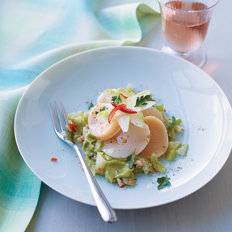 Food & Wine: Scallop Rosettes with Avocado and Creamed Tandoori Chayote