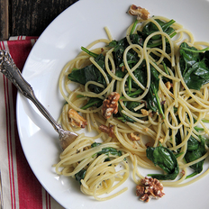 Food & Wine: Spinach and Walnut Spaghetti