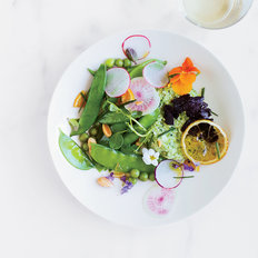 Food & Wine: Herbed Pea Puree and Ricotta Salad with Black Garlic and Lemon Confiture