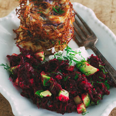 Food & Wine: Baked Potato Latkes with Beet Salad