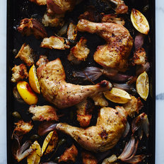 Food & Wine: Chicken Roasted on Bread with Caperberries and Charred Lemons